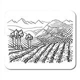 Mauspads Retro Green Landwirtschaft Kaffee Plantage Landschaft in Grafik Weiß Mauspad für Notebooks, Desktop-Computer Matten Büromaterial