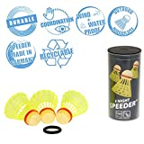 Speedminton NIGHT Speeder - 3er Pack leuchtende Speed Badminton/Crossminton Bälle inkl. Windring