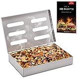 Räucherphorie Räucherbox Edelstahl - Robuste Smoker Box + E-Book mit den leckersten Rezepten - Grill Räucherbox universal als Räucherbox Gasgrill oder Räucherbox Holzkohlegrill