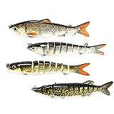 PushingBest Wobbler, Kunstköder Setzt Jerkbait mit 2 Drillingen Haken Fischköder für Zander Forelle (Segmentes 8)