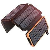 Solar Powerbank 25000mAh ADDTOP Tragbare Solar Ladegerät mit 4 Solarpanels, Outdoor wasserfester externer Akku mit 2 USB Ports für iPhone, Samsung, Android Und Tablet, Kamera usw