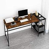 JOISCOPE Computertisch, Laptop-Tisch, Arbeitstisch mit Holzregalen, Tisch im Industriestil aus Holz und Metall, 60 Zoll (Eiche Vintage Finish)