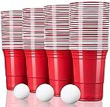 TRESKO 100 Beer Pong Becher   Partybecher 473ml - 16oz   Bierpong, Red Cups extra stark   Plastikbecher Rot