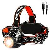 LED Stirnlampe Wasserdicht OMERIL LED Kopflampe USB Wiederaufladbare Headlight, Super Hell, Perfekt für Spazieren, Angeln, Campen, Arbeiten, Autoreparatur