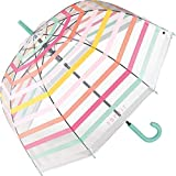 Esprit Automatik Regenschirm Glockenschirm durchsichtig transparent Stripes