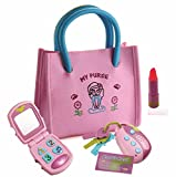 Playkidz My First Purse - Pretend Play Kid Purse Set for Girls with Handbag, Flip Phone, Light Up Remote with Keys, Play Lipstick & Kids Credit Card - Great Educational Toy for Fun & Learning