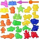 NUOBESTY Tiere Schimmel Spielset 27Pcs 3D Sand Formen Spielzeug Pädagogischer Spaß Kreatives Spiel Sandformen Sandformen Set Strand Sand Spielzeug für Jungen