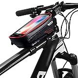 DelongKe Fahrrad Lenkertasche Wasserdicht Fahrrad Handyhalterung Ideal Fürs Fahrradtasche Lenker Für 6.5 Zoll Handys GPS Andere Geräte,Rot