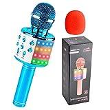 Qoosea Karaoke Mikrofon, Drahtloses Bluetooth Karaoke Mikrofon Kinder, Tragbares KTV Mikrofon mit Lautsprecher LED Aufnahme, Zuhause Party Karaoke Bluetooth Mikrofone für Android/iOS