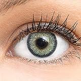 Graue Farbige Kontaktlinsen Viola - Gray Grau Sehr Stark Deckende SILIKON COMFORT NEUHEIT von GLAMLENS + Behälter - 1 Paar (2 Stück) - DIA 14.50 - ohne Stärke 0.00 Dioptrien