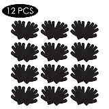 Rubyu 12 Paare Unisex Handschuhe Fingerhandschuh, Kinder Strick Handschuhe Fleecehandschuhe Comfort, Thermofutter aus 100 Baumwolle, Warm, Weich, Schwarz
