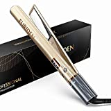 FURIDEN Glätteisen, Glätteisen Locken und Glätten, Glätteisen Haarglätter 2 in 1, Glätteisen Titanplatten mit Einstellbarer Temperatur, Golden