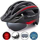 VICTGOAL Fahrradhelm MTB Mountainbike Helm mit abnehmbarem magnetischem Visier Abnehmbarer Sonnenschutzkappe und LED Rücklicht Radhelm Rennradhelm für Erwachsenen Herren Damen (Black-Red)
