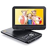 APEMAN Tragbarer DVD Player Auto 10,5'' mit Drehbarer Display Portable CD Player 5 Stunden Akku Unterstützt SD/USB/AV Out/IN Spiele Joystick (schwarz)