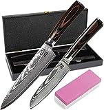 Zeuß Set Küchenmesser (32 cm und 24 cm) Damastmesser - 67 Schichten - Damaststahl - Profimesser - Santoku - Kochmesser - Chefmesser - Allzweckmesser