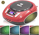 Lauson NXT962 Tragbarer CD-Player, LED-Discolichter, CD-Radio, Boombox, CD Player für Kinder, kinderradio mit cd und USB, Stereoanlage, LCD-Display, Netz & Batterie, Rot