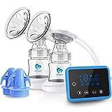 Elektrische Milchpumpe, Wiederaufladbare Doppel-Stillpumpe, LED-Anzeigen Elektrische Brustpumpe Brustmilchabsaugung und Brustmassage mit 10 Stück Milchtüten