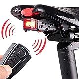 everso Fahrrad Rücklicht Alarm Diebstahlsicher COB LED Licht USB Aufladbar Akku Sattelmontage Wasserdicht und Fernbedienung