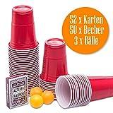 50 Stück Rote Partybecher Red Cups Trinkbecher 16 oz Beer Pong Kunststoff Party Becher Plastikbecher - Set inkl. 3 Tischtennis-Bälle und offizieller Beer Pong anleitung + Aztekenrausch