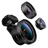 PINHEN Handy Objektiv Kamera Linse Kit - 3 in 1 Handy Kameraobjektiv Satz, 198 ° Fisheye Objektiv/ 0,45X Weitwinkel/ 12.5X Makro Linse mit Universal Clip-On für IOS und Android Smartphone (D7_Black)