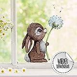 Fensterbilder Fensterbild Fuchs Reh & Hasen mit Pusteblume Osterkorb Ostern wiederverwendbar Fensterdeko bf21 - ausgewählte Farbe: *bunt* ausgewählte Größe: *3. Hase mit Pusteblume*