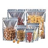 Aober 50St. Klare Aluminiumfolie Zip-Lock-Tasche Druckverschluss-Folienbeutel Stand Up Silvery Verpackungsbeutel für Food Tea Candy, 15x22cm