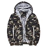 FRAUIT Herren Winterjacke Männer Camouflage Zipper Langarm Jacken Mantel Windbreaker, Windjacke Kapuzenjacke Streetwear Herren/Jungen Warm Parka Kleidung Top Outwear M-5XL