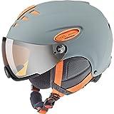 Uvex Erwachsene hlmt 300 visor Skihelm, Grey-Orange Mat, 57-59 cm
