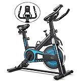 COSTWAY Indoor Fahrrad mit 6KG Schwungrad, Heimtrainer Fahrrad mit einstellbarem Widerstand, höhenverstellbarem Sitz und Lenker, Handyhalterung und LCD-Anzeige, Fitnessbike bis 120KG belastbar (Blau)