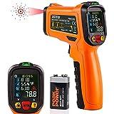 Infrarot Thermometer, ZOTO IR Laser Digital Temperaturmessgerät -50°C bis 800°C Berührungslos mit Farbe LCD Temperaturalarm Einstellbarer Emissionsgrad Feuchtigkeitserkennung Küche Drinnen/Draußen
