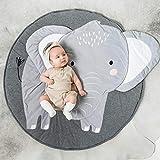 Queta Krabbeldecke Kuscheldecke aus Baumwolle Weiche Schlafteppich Cartoon Baby Spielmatte Spieldecke 90cm (Elefant)