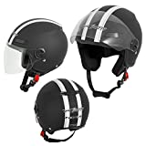 A-Pro Motorradhelm Motorrad Roller Offenes Jet Helm Viser ECE 22 05 Matt Schwarz XL
