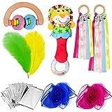 Baby Sensorisches Spielzeug Spielset, Löwenrassel,Holz Rassel, Grüner Beißring, Regenbogenband Rassel, Straußenfedern, Rettungsdecke, Pädagogisches Geschenk für Kinder Audiovisuelles Training