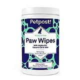 Petpost | Pfotentücher für Hunde – pflegender Pfotenreiniger mit Kokosöl, Jojobaöl und Aloe vera – 70 ultraweiche Wattetücher für die sanfte Pfotenpflege (Kirschblüten)