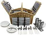 HappyPicnic Huntsman Picknickkorb aus Weiden für 4 Personen mit Doppel-Deckel und Kühlfach, Picknickset mit Decke, Besteck (Marineblaue Streifen)