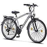 Licorne Bike Life M-V-ATB (Grau/Schwarz) 28 Zoll Herrenfahrrad,Trekking, ATB, CTB ab 160 cm, Fahrrad-Licht, Shimano 21 Gang-Schaltung, Herren-Citybike, Damen-Citybike, Männerfahrrad