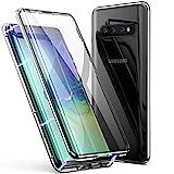 Hülle für Samsung Galaxy S10e Hülle,Magnetische Adsorption Metallrahmen 360 Grad Full Body Handyhülle Vorne hinten Gehärtetes Glas Schutzhülle Einteiliges Ultra Dünn Flip Transparente Cover,Silber