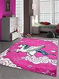 CARPETIA Kinderteppich Spielteppich Mädchen Einhorn Pink Größe 80x150 cm