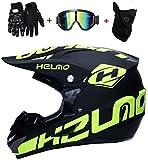 CHEYAL Motorradhelm Cross Helme Schutzhelm Motocross Helm für Motorrad Crossbike Off Road Enduro Sport mit Handschuhe Sturmmaske und Brille 58-59CM (Gelb Fluoreszenz),S55~56CM