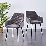 2X Wohnzimmerstuhl Esszimmerstuhl aus Stoff (Samt) Farbauswahl Retro Design Armlehnstuhl Stuhl mit Rückenlehne Sessel Metallbeine Schwarz (Gray, 2)