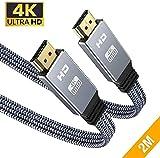 4K@60Hz HDMI Kabel 2Meter, Snowkids 4K Flach HDMI 2.0 Kabel Highspeed 18Gbps HDCP 2.2 Nylon Geflochten Kompatibel mit Video 4K, UHD 2160p,HD 1080p, 3D, ARC,LG,SONY,X-box One,PS3/PS4-Grau
