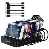 Multi Ladestation für mehrere geräte USB Ladegerät mehrfach Dockingstationen Fast Charger 10W 6 USB Ports für Smartphone Handy Tablet (6 USB Ladestation)