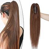 SEGO Ponytail Extension Echthaar Pferdeschwanz Zopf Clip in Haarteil Haarverlängerung 100% Remy Haar mit Klammer Mittelbraun#4 16'(40cm)