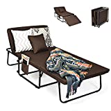 COSTWAY 3 in 1 Gästebett & Liegestuhl & Einzelnsofa mit verstellbarem Kopfteil | Seitentasche | Kissen | Staubschutzhülle| bis 250kg belastbar | 4 feststellbaren Rädern | ausnehmbarem Bezug | klappbar