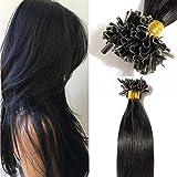 TESS Bonding Extensions Echthaar 1g 100% Haarverlängerung 50 Strähnen Remy Keratin Human Hair 50g/40cm(#1 Schwarz)
