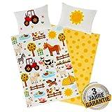 Aminata Kids Kinderbettwäsche Bauernhof-Tiere 100 x 135 cm + 40 x 60 cm, Baumwolle mit Reißverschluss, unser Kinder-Bettwäsche-Set mit Tier-Motiv ist bunt, Traktor Pferd, Hund, Esel