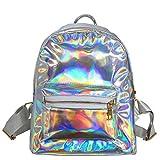 Chic Diary Mädchen-Rucksack mit holografischem Laser-Design, Leder, für Schule, Büchertasche, Reise, Freizeitrucksack für Frauen, silber (Silber) - QQUK03146