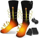 EDUPUP Beheizte Socken, elektrische Heizsocken für Männer Frauen, Winterwarme Baumwollsocken Fußwärmer Heizsocke für Outdoor-Sportcamping, Angeln, Radfahren, Motorradfahren, Skaten und Skifahren