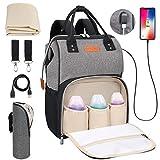 Baby Wickelrucksack Wickeltasche mit Wickelunterlage, Multifunktional Große Kapazität Babytasche Reisetasche für Unterwegs, Oxford Babyrucksack mit USB-Lade Port (Schwarz+Grau)