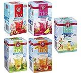 Teekanne frio 5er Pack - Pfirsich Maracuja, Erdbeere Orange, Himbeere Zitrone,Limette Minze und Sport Apfel-Zitrone Magnesium (5 x 45g)